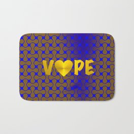 Florescent Blue Yellow Retro Vape Heart  Bath Mat