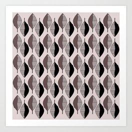 Mauve & black leaves Art Print