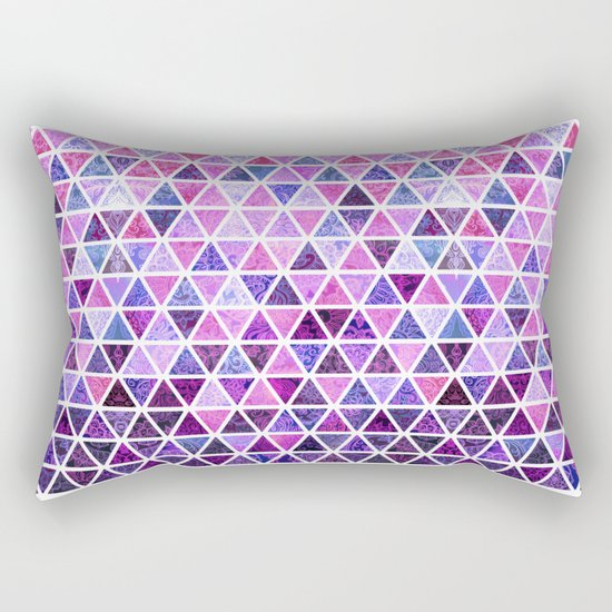 Berry Purples - Triangle Patchwork Pattern Rectangular Pillow
