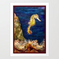 sea horse Art Prints featuring Sea horse by Michelle Behar