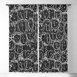 Black & White Hand Drawn People Pattern Blackout Curtain