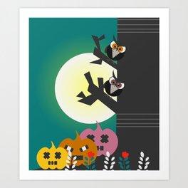 Owls in the moonlight Art Print