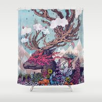 deer Shower Curtains featuring Journeying Spirit (deer) by Mat Miller