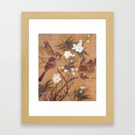 Sparrows, plum blossoms, and bamboo Framed Art Print