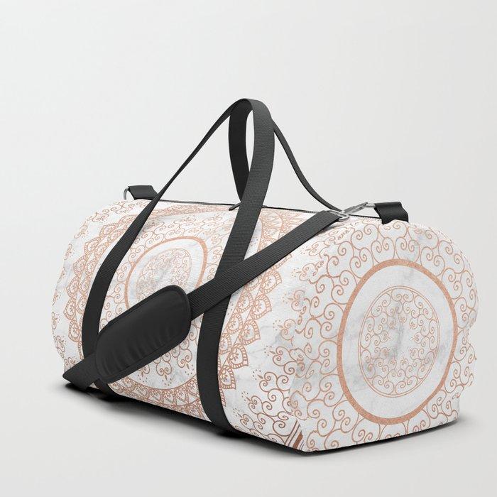 Mandala - rose gold and white marble Duffle Bag