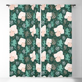Tree Frog and Fern Floral Blackout Curtain