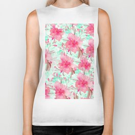 Hot pink turquoise hand painted watercolor floral Biker Tank