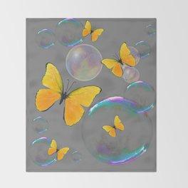 YELLOW BUTTERFLIES  & SOAP BUBBLES GREY COLOR DESIGN ART Throw Blanket