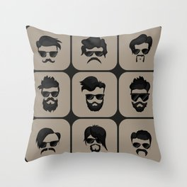 mustache, beard and hairstyle hipster Throw Pillow