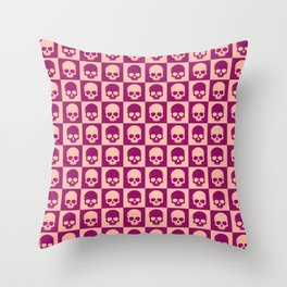 Checkered Skulls Pattern II Throw Pillow