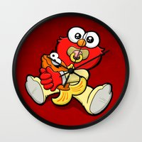 elmo Wall Clocks featuring Baby Elmo & Dorothy by BinaryGod.com