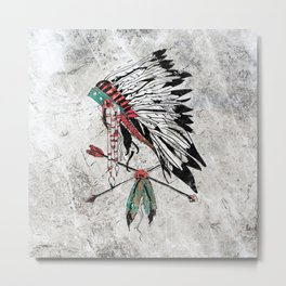 chieftain feather headdress Metal Print