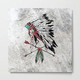 chieftain feather headdress Metal Print