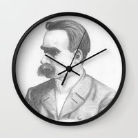nietzsche Wall Clocks featuring Friedrich Nietzsche by tavislea