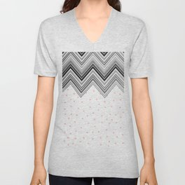 Geometrical black blush pink polka dots chevron Unisex V-Neck