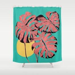 Flamingo Monstera Shower Curtain