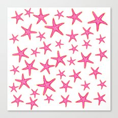Summer pink neon watercolor gold starfish pattern Canvas Print