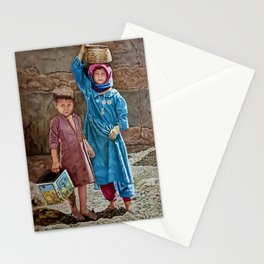Oil painting 2 kids Childhood is miserable but responsible and stubbornly resisting despair Stationery Cards