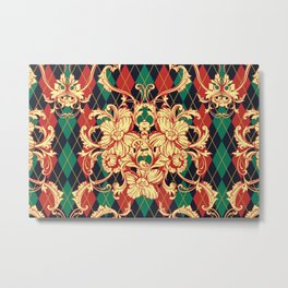 Eclectic vintage pattern. Argyle baroque ornament. Classical luxury damask hand drawn illustration pattern. Metal Print