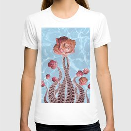 Octopus Tentacles and Roses in Water Surreal Print T-shirt