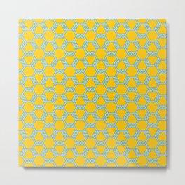 Pastel Blue-Gold Freeman Lattice Metal Print