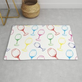 Print with wine glasses. Drawn colored wine glasses on white. Multicolor Rug