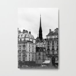 A View of Sainte Chapelle from the Right Bank of the Seine River, Paris, France Metal Print