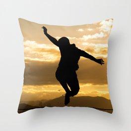 Slack Line Throw Pillow