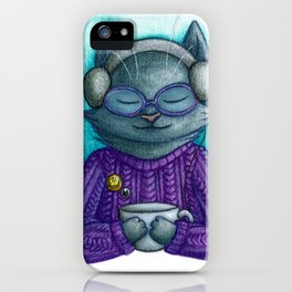 Hot drinks and cool tunes iPhone Case