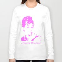 audrey hepburn Long Sleeve T-shirts featuring Audrey Hepburn by Walter Eckland