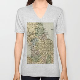 North England and Wales Vintage Map Unisex V-Neck