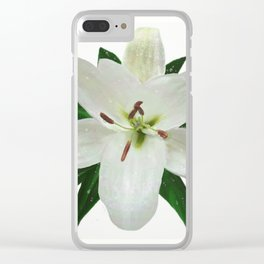 White Lily in the Rain Clear iPhone Case