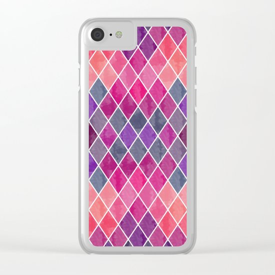 Watercolor Geometric Pattern Clear iPhone Case
