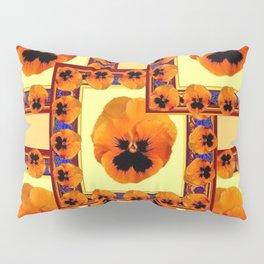 DECO ORANGE PANSIES ON YELLOW COLOR Pillow Sham