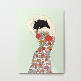 Woman in Floral Dress Metal Print