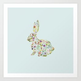 Spring Flowers Bunny on Blue Art Print