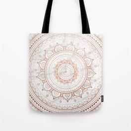 Mandala - rose gold and white marble Tote Bag