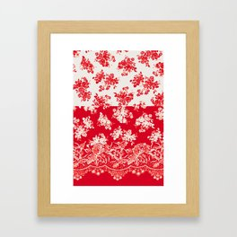 small bouquets in bright red with border Framed Art Print