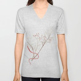 Winter Branches (white pine and rose hips) in Watercolor Unisex V-Neck