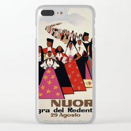 Nuoro Sardinia vintage Italian travel ad Clear iPhone Case