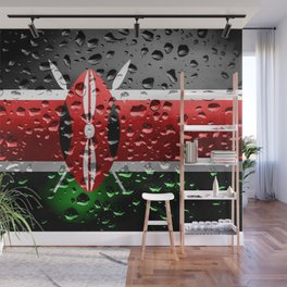 Flag of Kenya - Raindrops Wall Mural