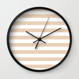 Narrow Horizontal Stripes - White and Pastel Brown Wall Clock