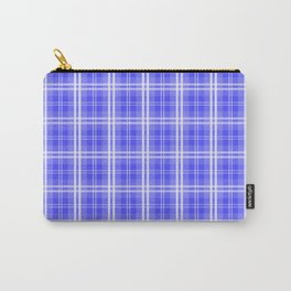 Bright Neon Blue and White Tartan Plaid Check Carry-All Pouch