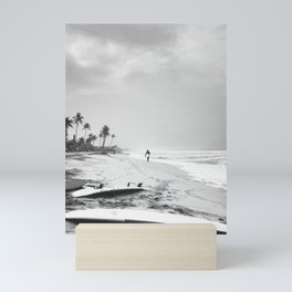 Back and white surf beach photo Mini Art Print