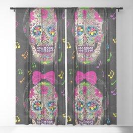 Sugar Skull Music Sheer Curtain