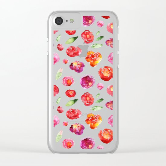 Watercolor flowers #3 Clear iPhone Case