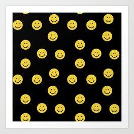 Happy Face - smiley, smiles, happy, emoji, cute, 90s, happy face Art Print