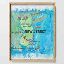 USA New Jersey State Travel Poster Map with Touristic Highlights Serving Tray