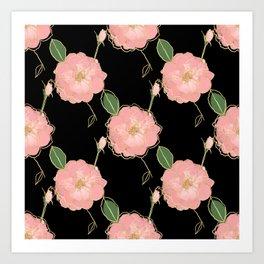 Elegant Pink & Gold Watercolor Roses Black Design Art Print
