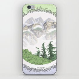 SUMMER IN THE NORTH CASCADE MOUNTAINS PEN DRAWING iPhone Skin